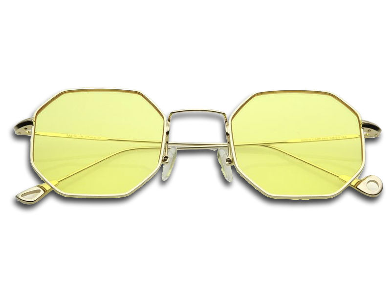 Geometric Tinted Yellow Glasses